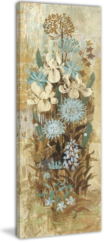 Marmont Hill Floral Frenzy Blue II Painting Print on Canvas 45 x 15