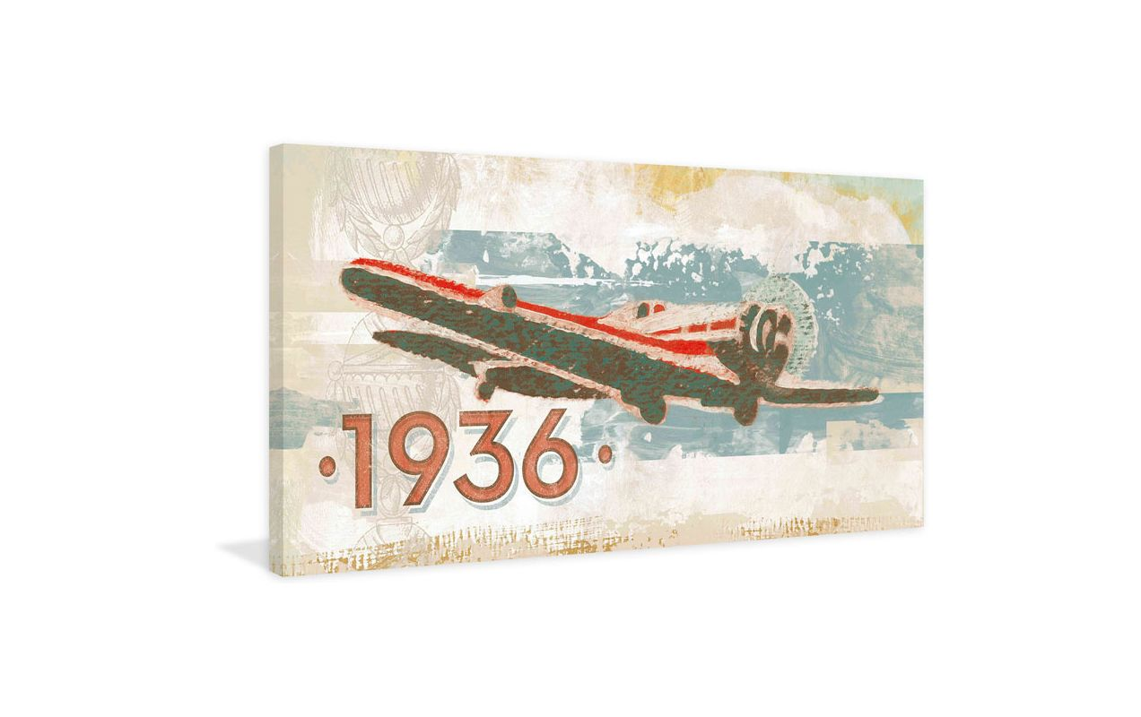 Marmont Hill Vintage Plane 1936 Painting Print on Canvas 12 x 24 Home