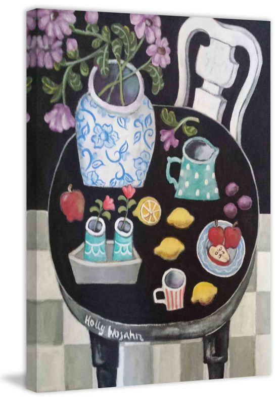 Marmont Hill Fruit and Flowers on Black Table Painting Print on Canvas