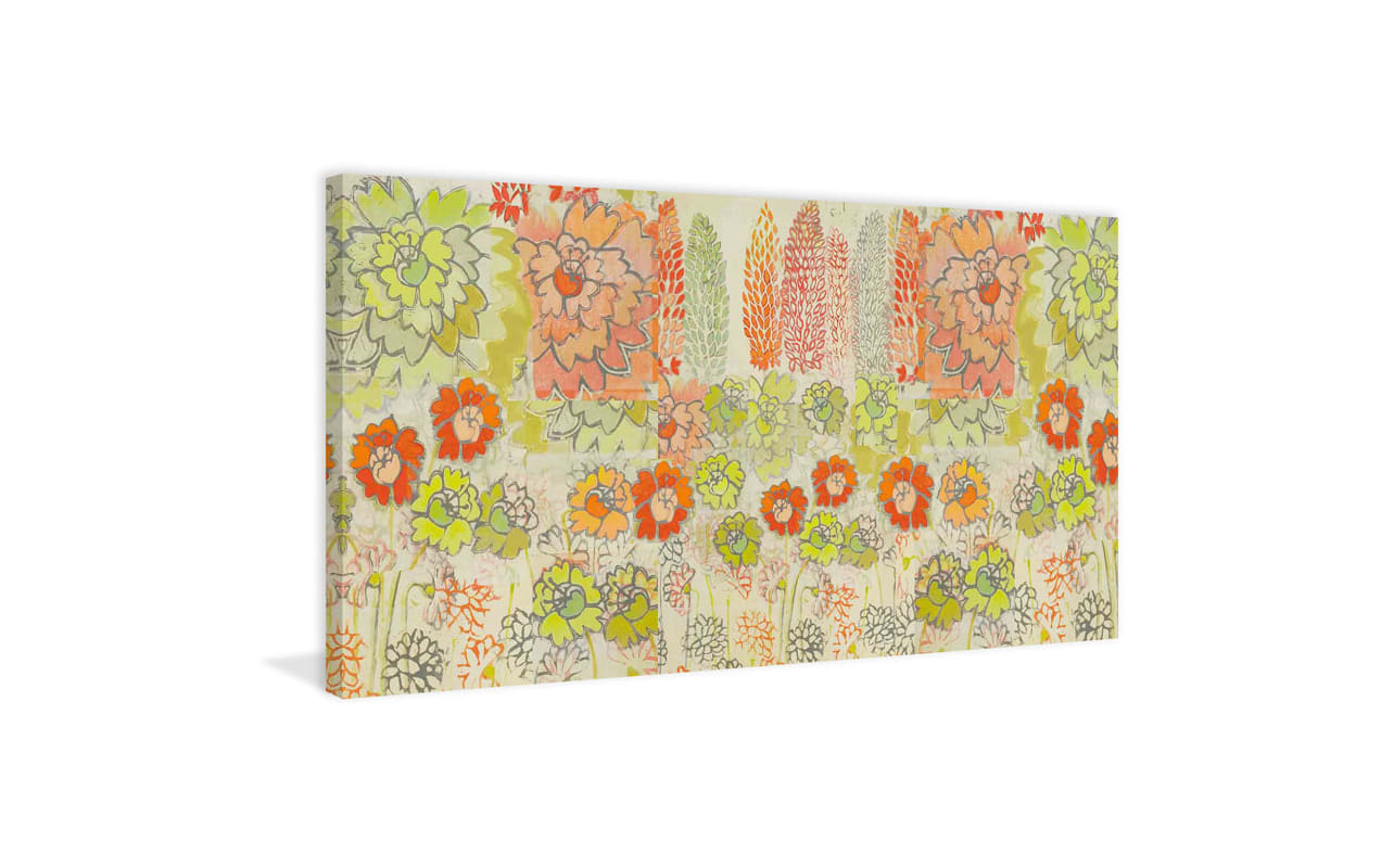 Marmont Hill Orange and Green Flowers Painting Print on Canvas 18 x 36