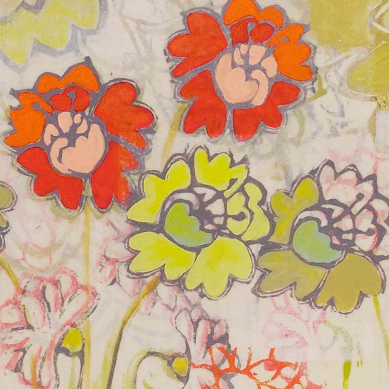 Marmont Hill Two Orange and Green Flowers Painting Print on Canvas 32