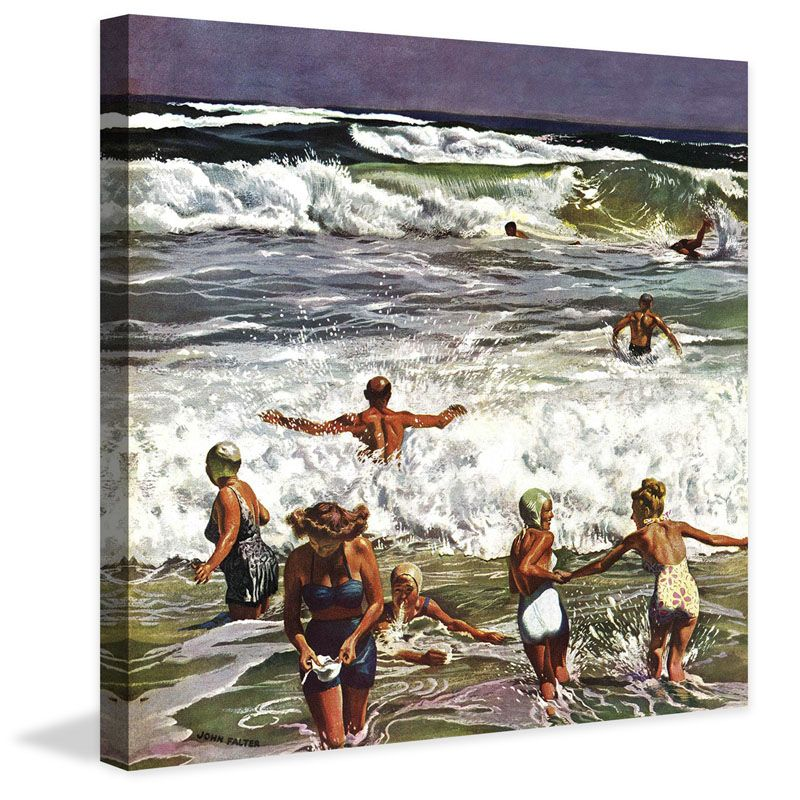 Marmont Hill Surf Swimming John Falter Painting Print on Canvas 40 x