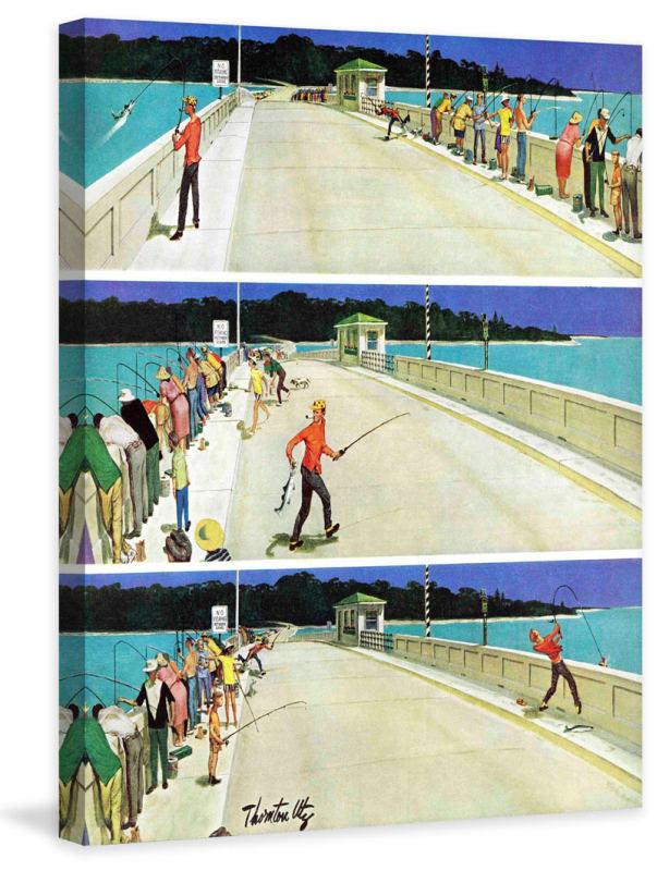 Marmont Hill Bridge Fishing Thornton Utz Painting Print on Canvas 48 x