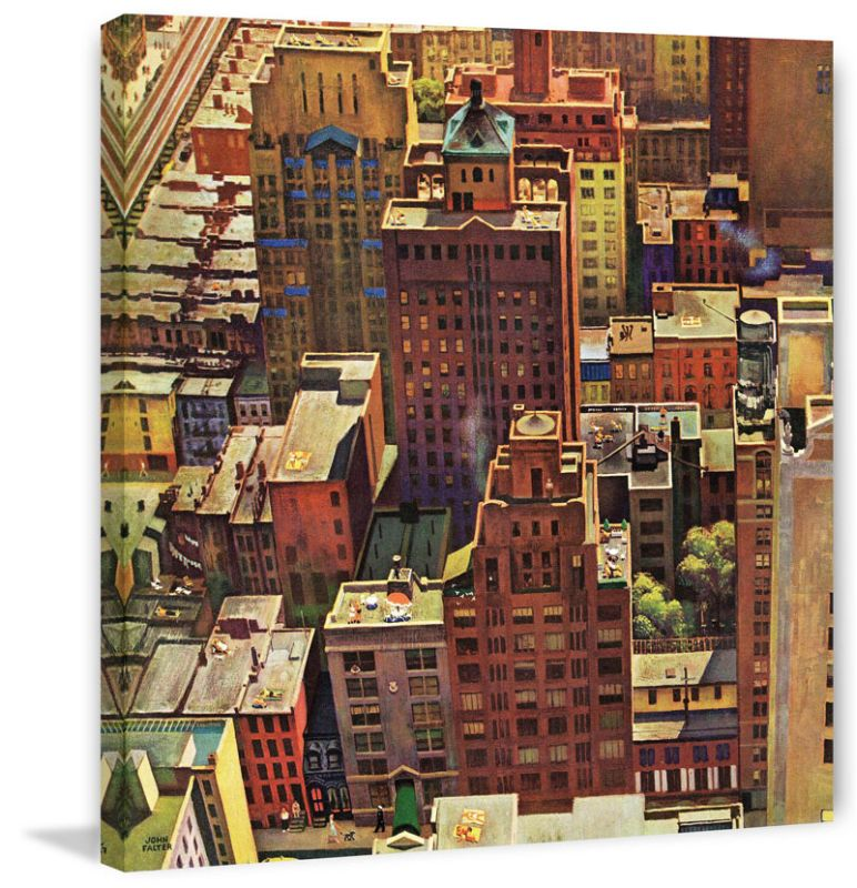 Marmont Hill Birds Eye View of New York City John Falter Painting