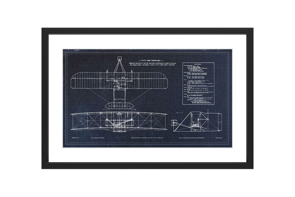 Marmont Hill Kitty Hawk Blueprint - Black Framed Art Print Smithsonian
