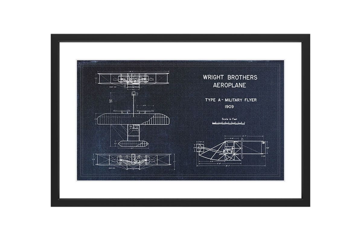 Marmont Hill Military Flyer Blueprint- Black Framed Art Print