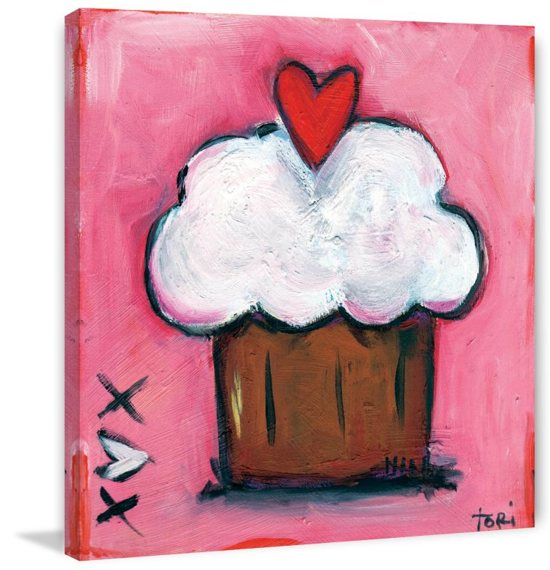 Marmont Hill Pink Heart Cupcake - on Canvas Fine art print on canvas