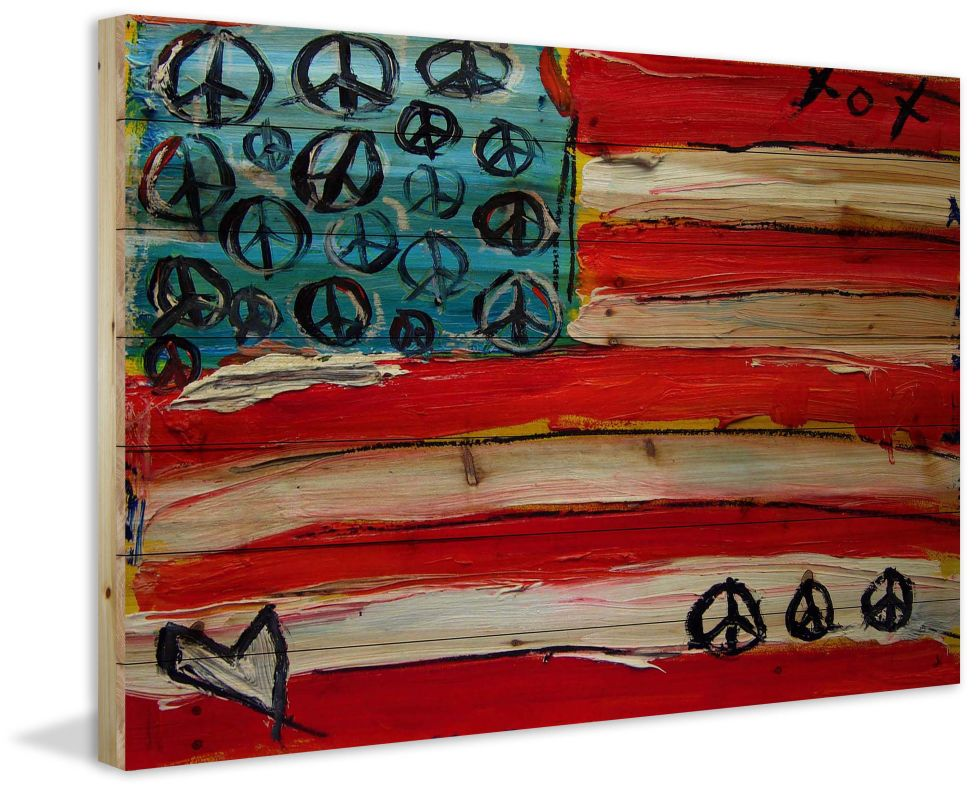 Marmont Hill Peace Flag - on Natural Pine Wood Fine art print on