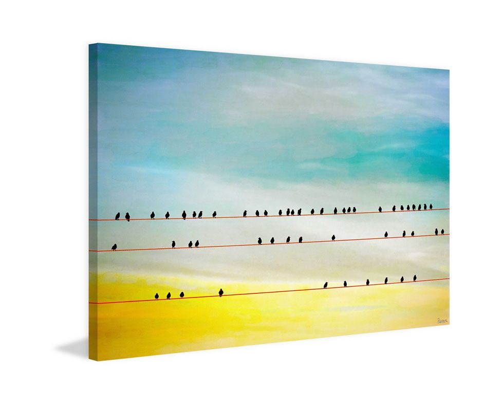 Marmont Hill Birds Hangin Print on Canvas 24 x 36 Home Decor Canvas