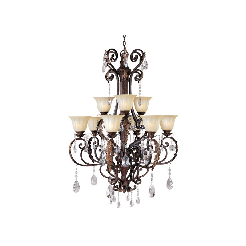 Maxim 13566/CRY080 Augusta 9 Light 2 Tier Shaded Chandelier Auburn