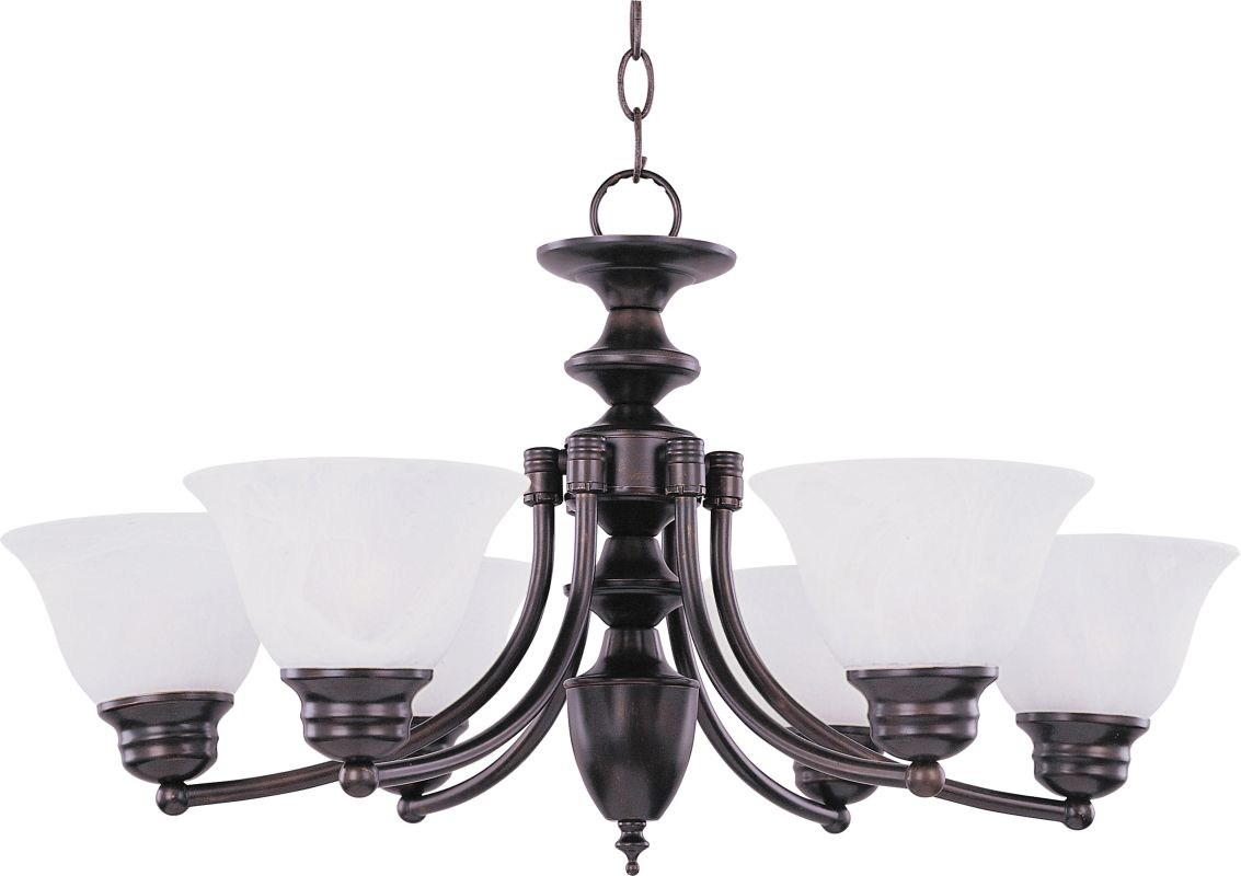 Maxim 2684 Malaga 6 Light 1 Tier Chandelier Oil Rubbed Bronze / Marble