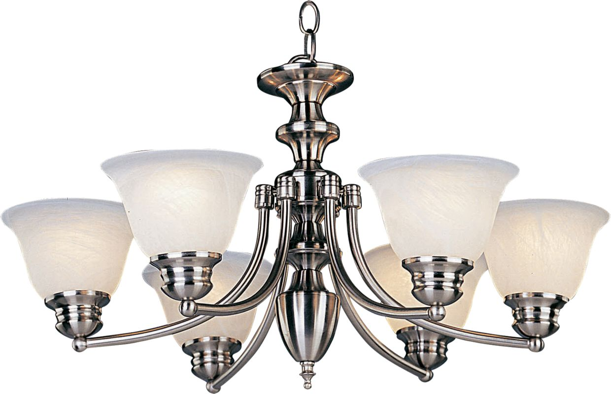 Maxim 2684 Malaga 6 Light 1 Tier Chandelier Satin Nickel / Marble
