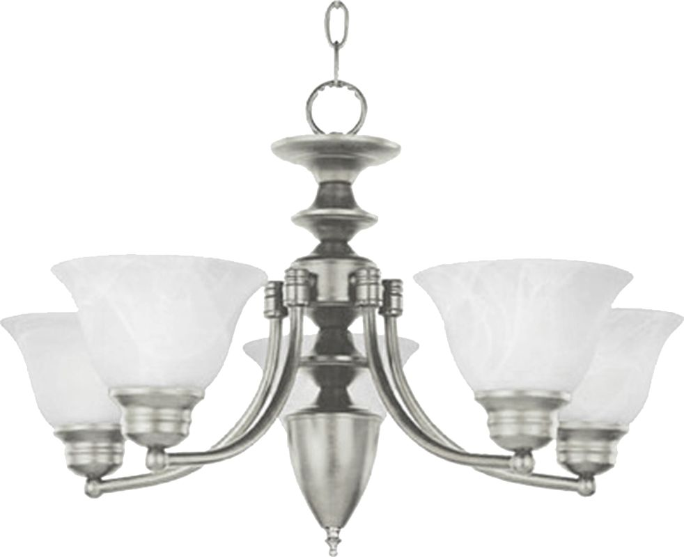Maxim 2699 Malaga 5 Light 1 Tier Chandelier Satin Nickel / Marble