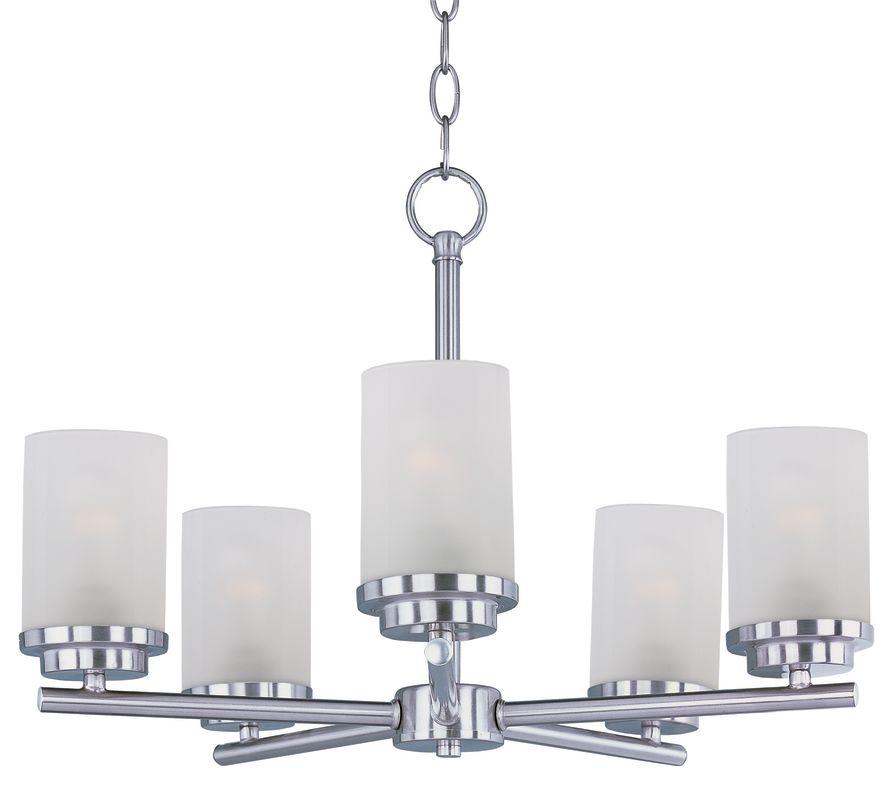 Maxim 10205 Corona 5 Light 1 Tier Chandelier Satin Nickel Indoor