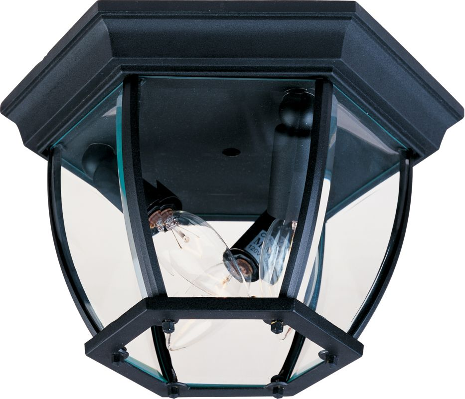 Maxim 1029 3-Bulb Flush Mount Outdoor Ceiling Fixture - Glass Shade Sale $39.80 ITEM: bci954105 ID#:1029BK UPC: 783209102903 :
