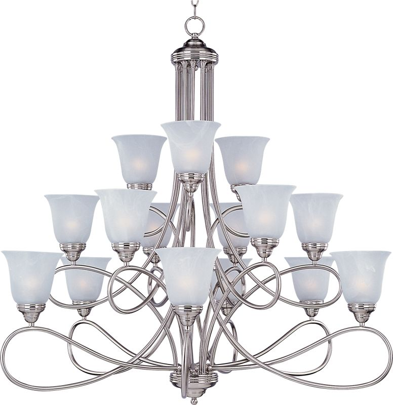 Maxim 11045 Nova 15 Light Triple-Tier Chandelier Satin Nickel / Marble Sale $798.00 ITEM: bci2629418 ID#:11045MRSN UPC: 783209012998 :