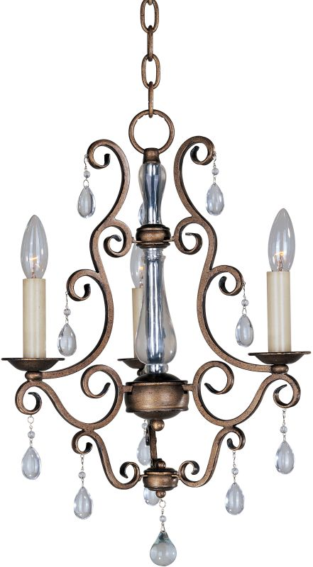 Maxim 12024 Hampton 3 Light 1 Tier Mini Chandelier Auburn Dusk Indoor