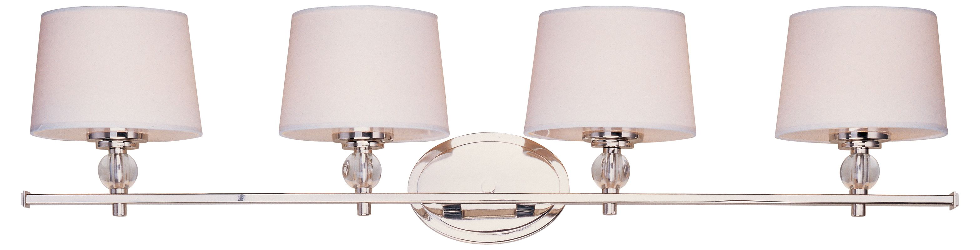 Maxim 12764wtoi Oil Rubbed Bronze White Fabric Shade 4 Light Wide Bathroom Fixture From