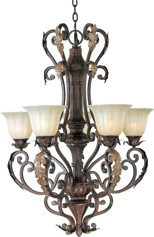 "Maxim 13565CF Augusta 5 Light 36"" Tall Chandelier Auburn Florentine"