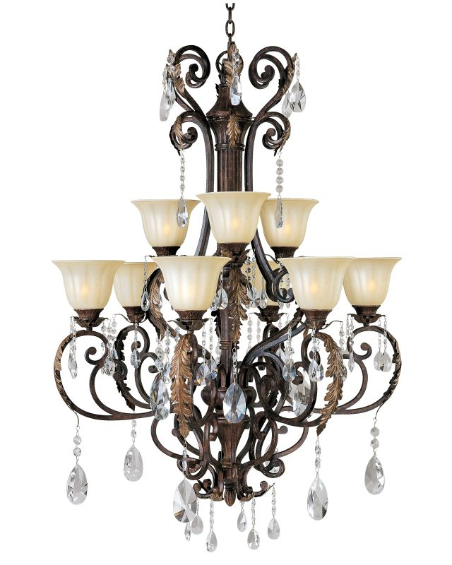 "Maxim 13566CF Augusta 9 Light 48"" Tall Chandelier Auburn Florentine"