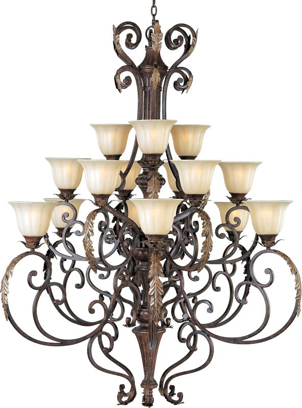 "Maxim 13567CF Augusta 15 Light 57"" Tall Chandelier Auburn Florentine"