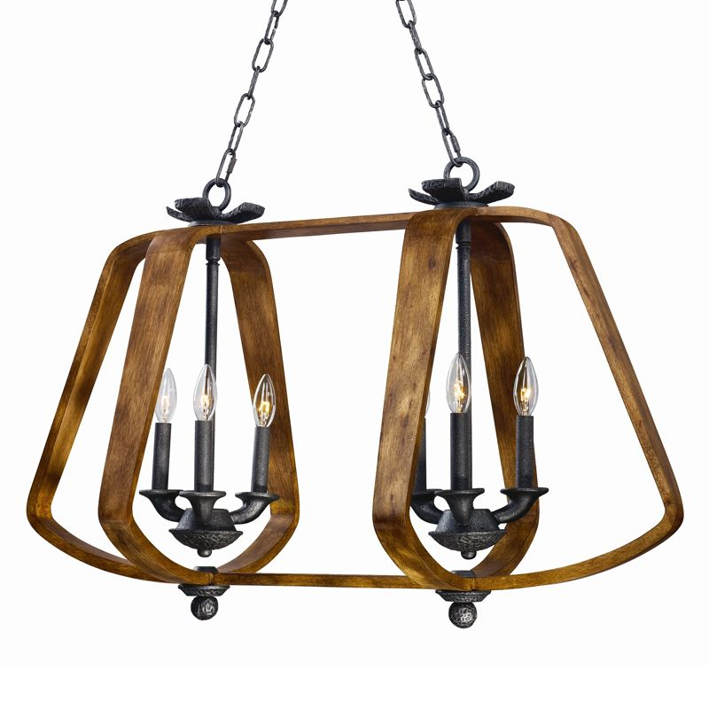 Maxim 20927 Road House 6 Light Linear Chandelier Barn Wood / Iron Ore
