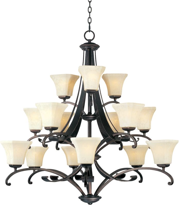 Maxim 21067 Oak Harbor 15 Light 3 Tier Chandelier Rustic Burnished