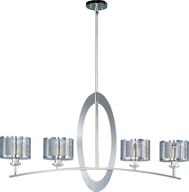 Maxim 22307 Mirage 4 Light 1 Tier Linear Chandelier Polished Nickel