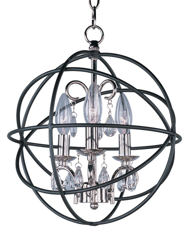 Maxim 25140 Orbit 3 Light 1 Tier Globe Chandelier Anthracite and
