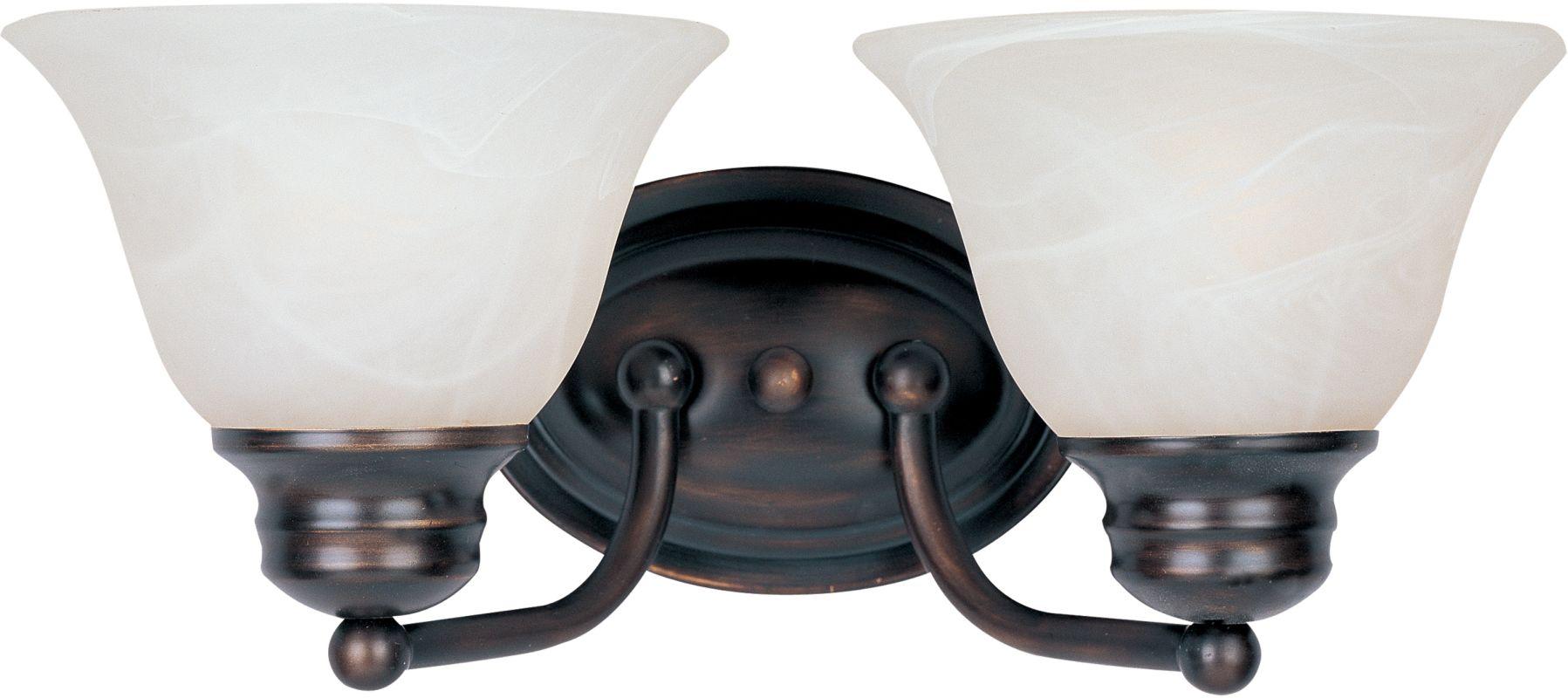 Progress Lighting Alexa Collection 2 Light Antique Bronze: Maxim 2687MROI Oil Rubbed Bronze / Marble Glass Malaga 13