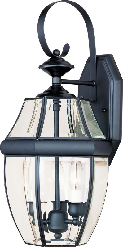"""Maxim 4191 3 Light 19"""" Tall Outdoor Wall Sconce Black / Clear Glass"""