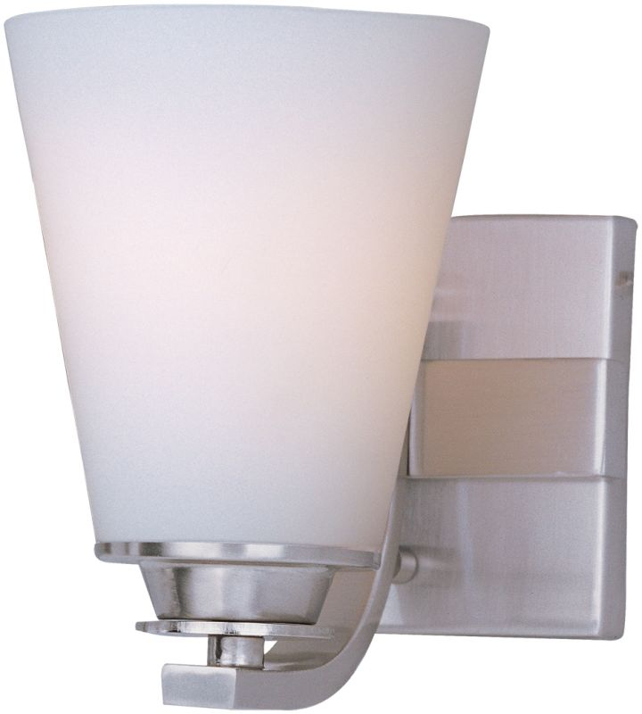 "Maxim 9011 Conical 7"" Tall 1 Light Bathroom Sconce with White Glass"