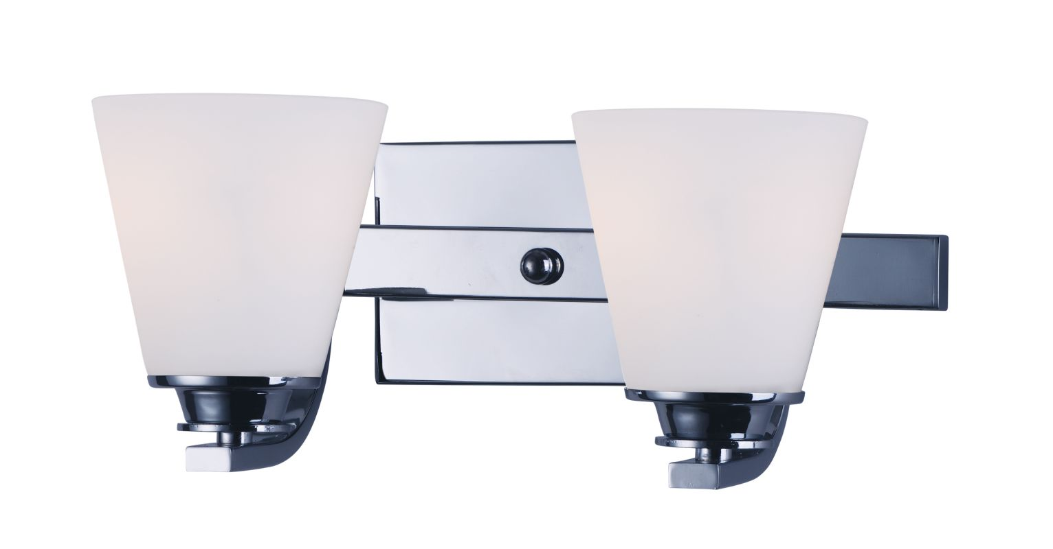 "Maxim 9012 Conical 7"" Tall 2 Light Bathroom Vanity Light with White"