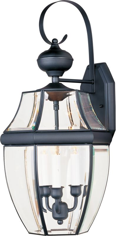 """Maxim 4192 3 Light 23"""" Tall Outdoor Wall Sconce Black / Clear Glass"""