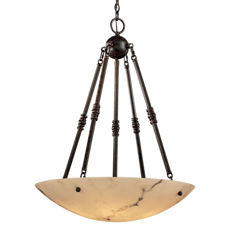 Metropolitan N3605 Alabaster Stone / Glass Five Light Bowl Pendant