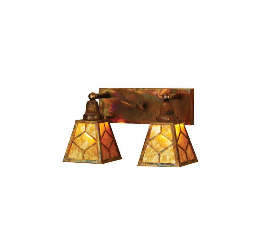 "Meyda Tiffany 102168 17"" Wide 2 Light Vanity Light with Amber Shades"