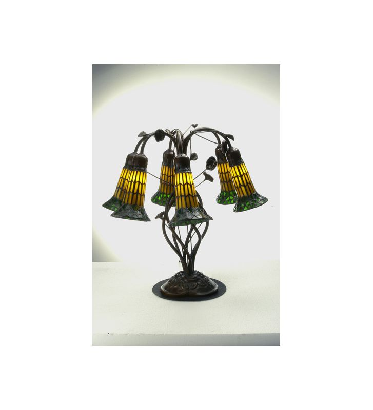 Meyda Tiffany 102415 Tiffany Six Light Table Lamp Lily Amber / Green /