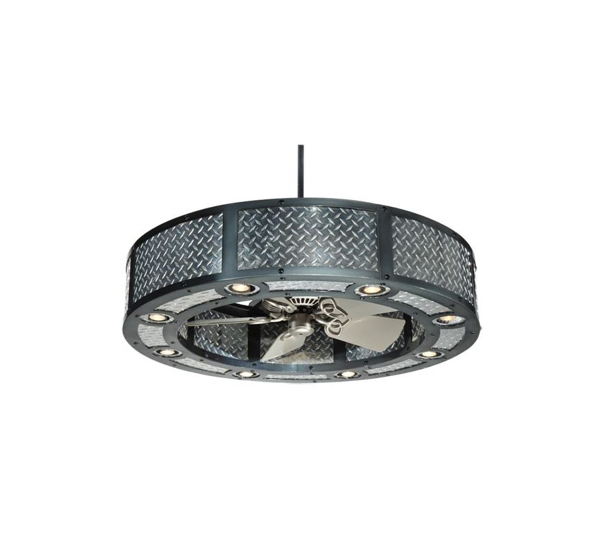 Meyda Tiffany 110039 Black Chrome Industrial Chandel-Air Ceiling Fan