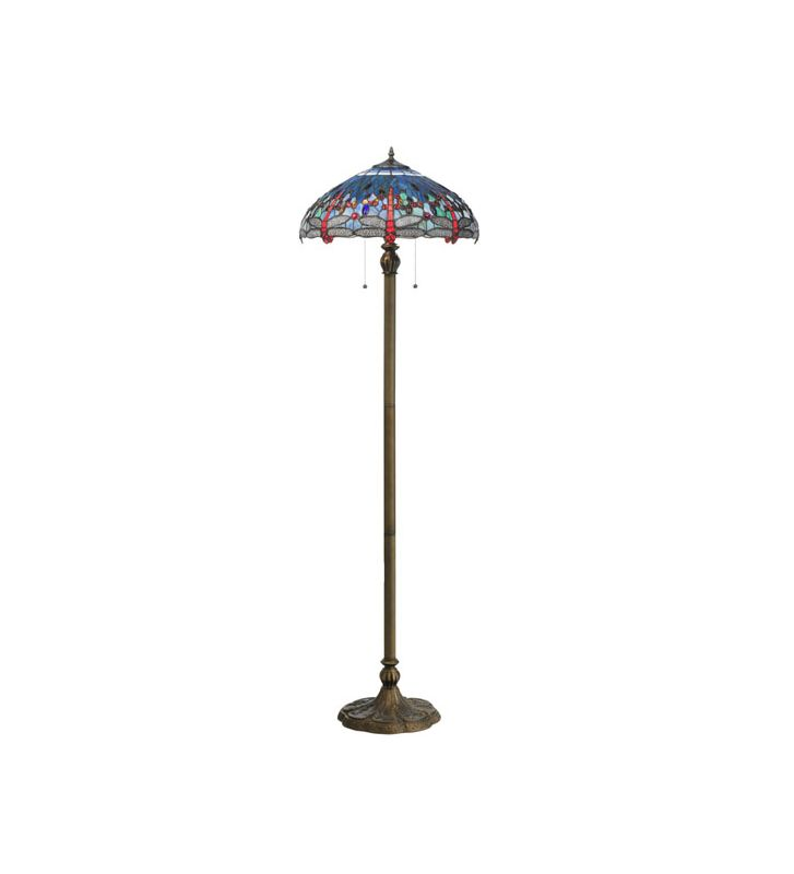 "Meyda Tiffany 118843 60"" H Tiffany Hanginghead Dragonfly Floor Lamp"