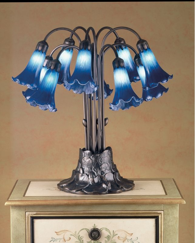 Meyda Tiffany 14397 Stained Glass / Tiffany Table Lamp from the Lilies