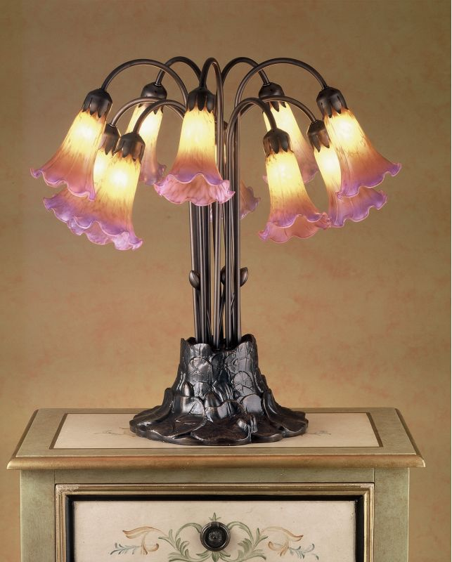 Meyda Tiffany 14429 Stained Glass / Tiffany Table Lamp from the Lilies