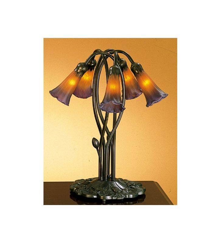Meyda Tiffany 14962 Stained Glass / Tiffany Table Lamp from the Lilies