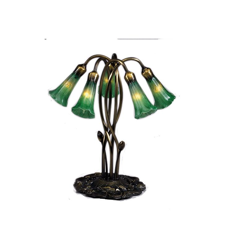 Meyda Tiffany 15386 Stained Glass / Tiffany Table Lamp from the Lilies