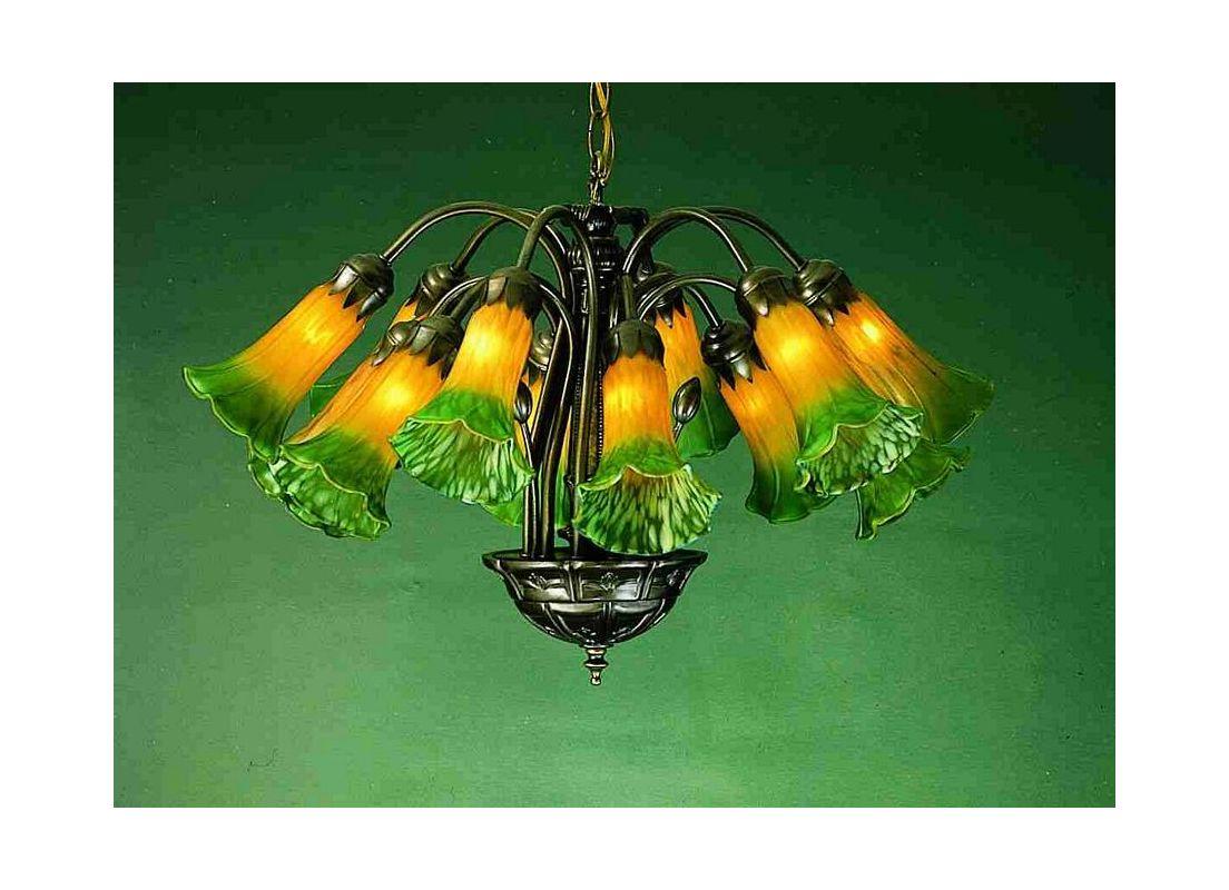Meyda Tiffany 15997 Lilies 12 Light Single Tier Chandelier with
