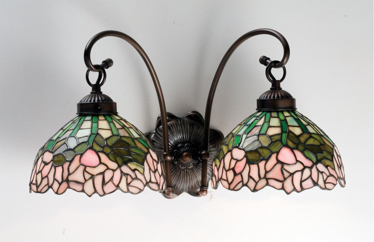 "Meyda Tiffany 18712 Cabbage Rose 8"" Wide 2 Light Double Sconce with"