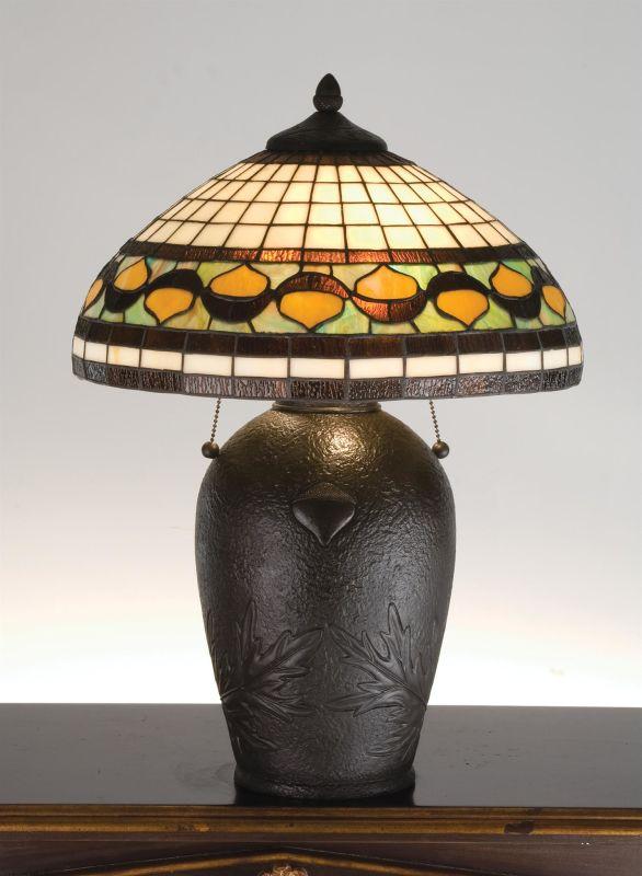 Meyda Tiffany 19169 Table Lamp from the Acorns Collection Mahogany