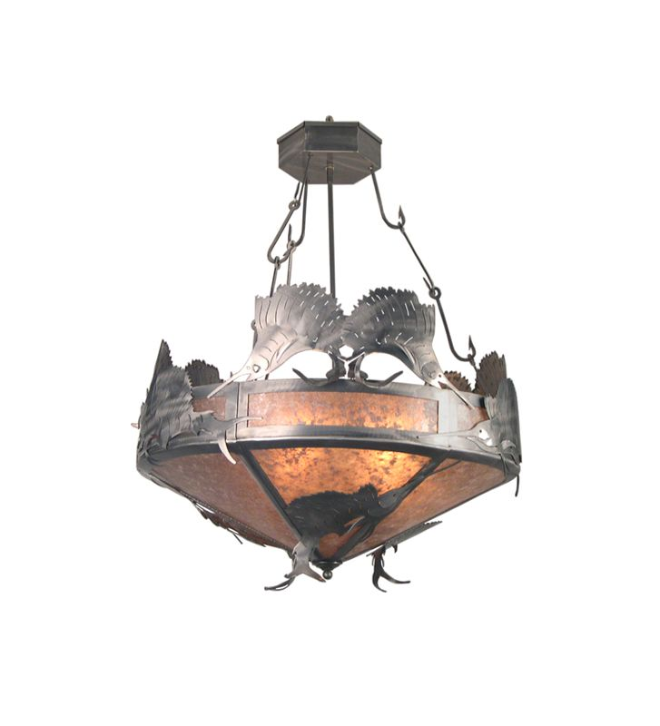 Meyda Tiffany 20875 Craftsman / Mission Four Light Up Lighting Pendant