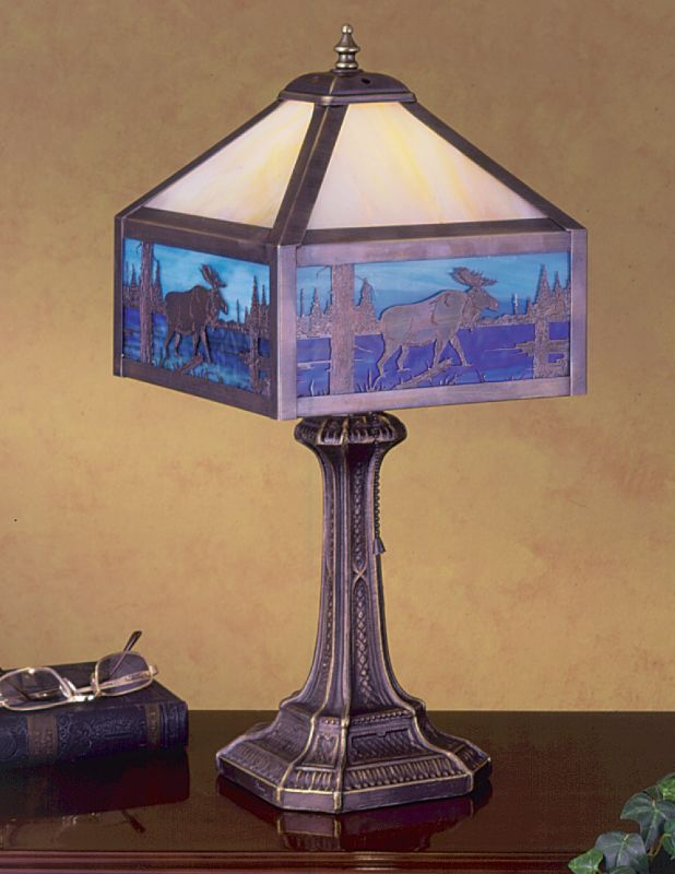 Meyda Tiffany 24242 Single Light Accent Table Lamp Craftsman Brown