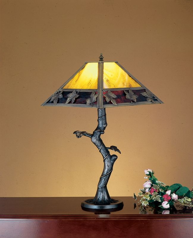 Meyda Tiffany 24408 Table Lamp from the Maple Leaf Collection Mahogany