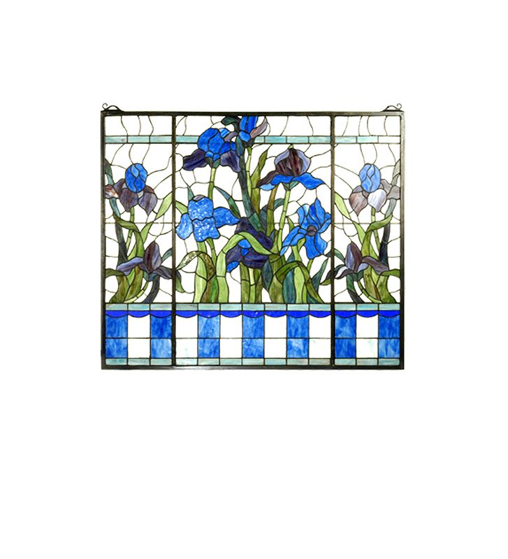 Meyda Tiffany 26174 Tiffany Stained Glass Window Pane from the Iris